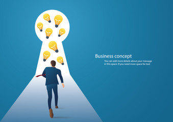 Business concept illustration of a businessman walking to light bulbs in keyhole
