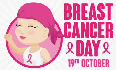 Cute Woman with Headscarf Celebrating Month Against Breast Cancer: October, Vector Illustration