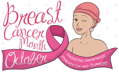 Woman with Headscarf and Ribbon Celebrating Breast Cancer Awareness Month, Vector Illustration