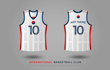 basketball t-shirt design uniform set of  kit. basketball jersey template. blue and red color, front and back view shirt mock up. south korea basketball club vector illustration
