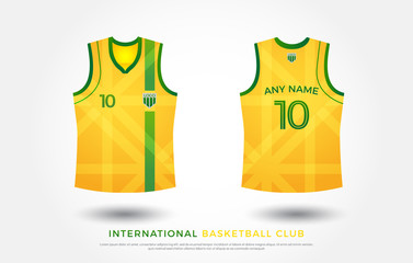 basketball t-shirt design uniform set of  kit. basketball jersey template.green and yellow color, front and back view shirt mock up. australia basketball, volleyball club vector illustration