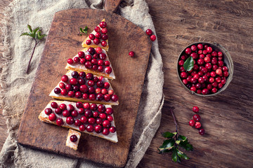 Christmas dessert with fresh berries