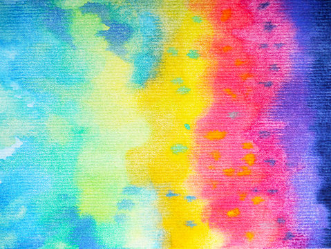 abstract art rainbow color colorful watercolor painting background hand drawing