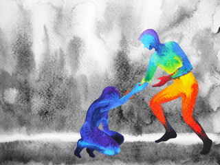 power man give hand help sad man, love universe powerful, watercolor painting