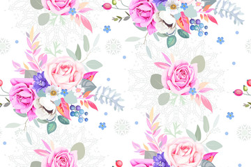 Seamless pattern with pretty bouquets and openwork element 1