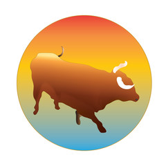 Bull in a circle logo vector