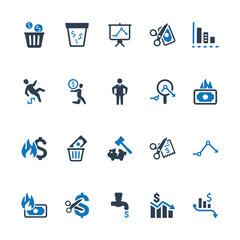 Financial Loss Icons - Blue Version