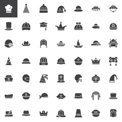 Hat, cap, headdress, headwear vector icons set, modern solid symbol collection, filled pictogram pack. Signs, logo illustration. Set includes icons as chef hat, party hat, pilgrim hat