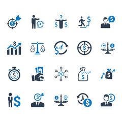 Budget Plan Icons - Blue Version