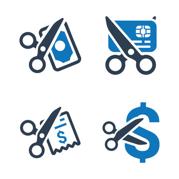 Cost Cutting Icons (Blue Version)