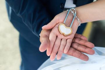 Wedding lock in the hands