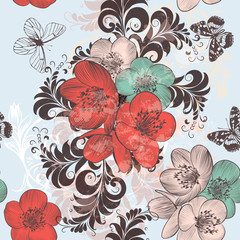 Beautiful pattern illustration with hand drawn poppy flowers in vintage style for design