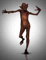 Fototapete - 3D evil zombie style creature