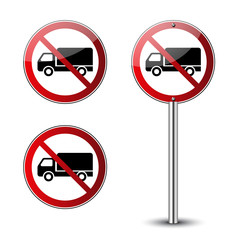 No truck signs set. Forbidden red road signs isolated on white background. Glossy black no truck icons. Truck restriction symbol. No parking truck transport . No allowed lorry Vector illustration