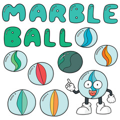 vector set of marble ball