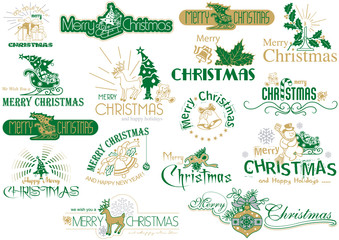 Merry Christmas Typography Set - Logo or Emblems or Text Design for Banners and Greeting Cards and Gifts etc., Vector Illustration