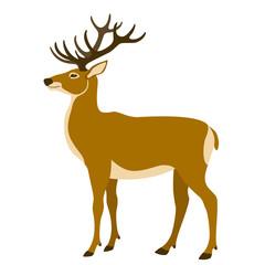 deer  vector illustration flat style  profile side