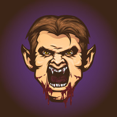 Vampire character. Angry vampire with open mouth. Vector illustration, eps 10.