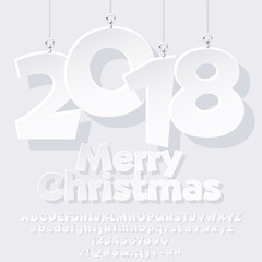 Vector comic greeting card for Merry Christmas with paper toys 2018. Snow white Font with Graphic style. Set of Alphabet Letters, Numbers, Symbols