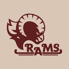 Ram. Logo, sticker, print. Mascot of a sports team. Vector illustration.