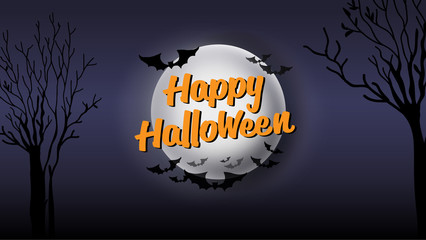 Happy Halloween typography calligraphy. Seasonal lettering. background layout design banner template. vector illustration