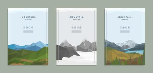 Brochure, flyer, template, corporate identity. Nature, mountain landscape.