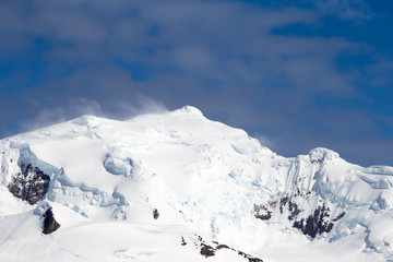 A snow and glacier topped mountain in Antarctica
