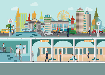 Cityscape with subway train station platform  under city street with people enter subway station