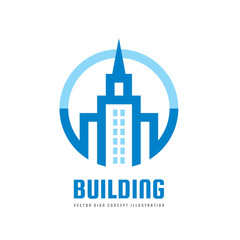 Building - vector logo template concept illustration. Real estate abstract symbol. Construction creative sign. Tower icon. Design element.