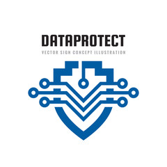 Date Protection   Vector Logo Template Concept Illustration. Abstract  Shield Symbol With Electronic Design Elements