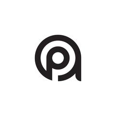 initial letter ap, pa, p inside a, linked line circle shape logo, monogram black color
