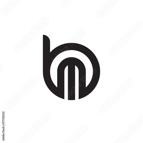Initial Letter Bm Mb M Inside B Linked Line Circle Shape Logo
