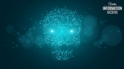 Hacking system and information. Abstract skull of blue color from a binary code. The data is under threat. Web programming. Sci-fi and hi-tech. Glowing neon eyes. Vector