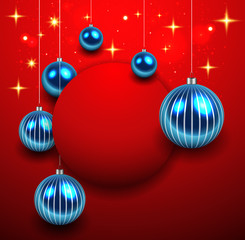 Abstract Christmas background red with blue balls