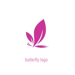 Butterfly logo, leaves design
