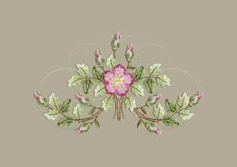 Pattern for embroidered bouquet with curved branches with leaves,roses and rosebuds with transparent twists on a beige background