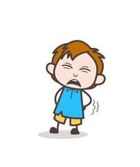 Screaming in Pain - Cute Cartoon Kid Vector