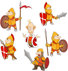 Aluminium Prints Baby room Set Cartoon Illustration. A Cute Knights for you Design