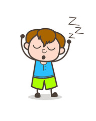 Sleeping Kid Expression - Cute Cartoon Boy Illustration