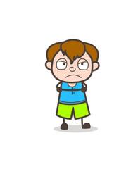 Angry Mood Little Kid - Cute Cartoon Boy Illustration