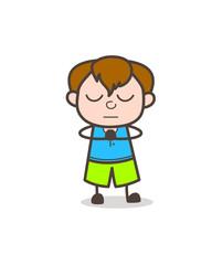 Praying Pose - Cute Cartoon Boy Illustration