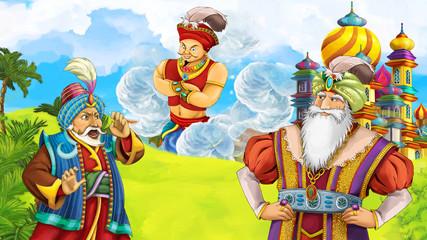 cartoon scene with traveler looking on giant near the castle - illustration for children