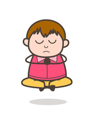 Doing Prayer and Meditation - Cute Cartoon Fat Kid Illustration