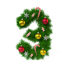 Christmas font isolated on white, number 3 3d rendering