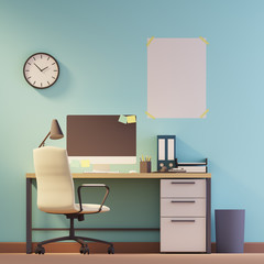 Blue wall home office, poster