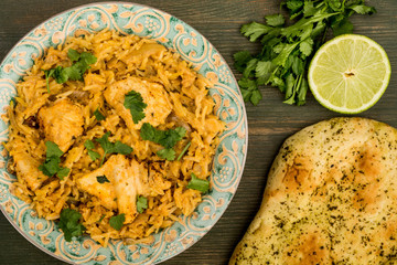 Indian Style Chicken Biryani Curry With Rice