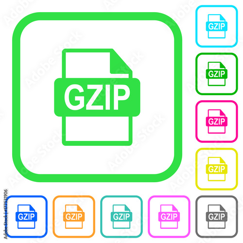 GZIP file format vivid colored flat icons icons