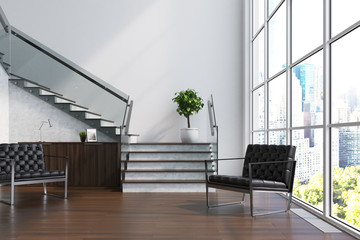 White living room, stairs, armchairs