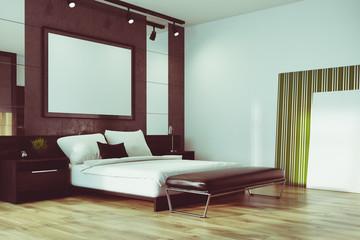 Gray loft bedroom, poster corner toned