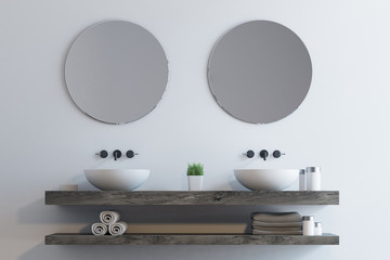 Double sink with round mirrors